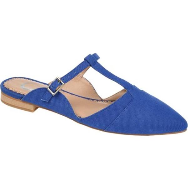 ジャーニーコレクション レディース サンダル シューズ Fernn T Strap Flat Mule Blue Canvas Fabric