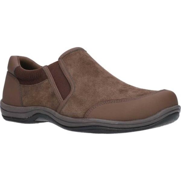 イージーストリート レディース スニーカー シューズ Infinity Sport Comfort Slip On Brown Suede/Leather