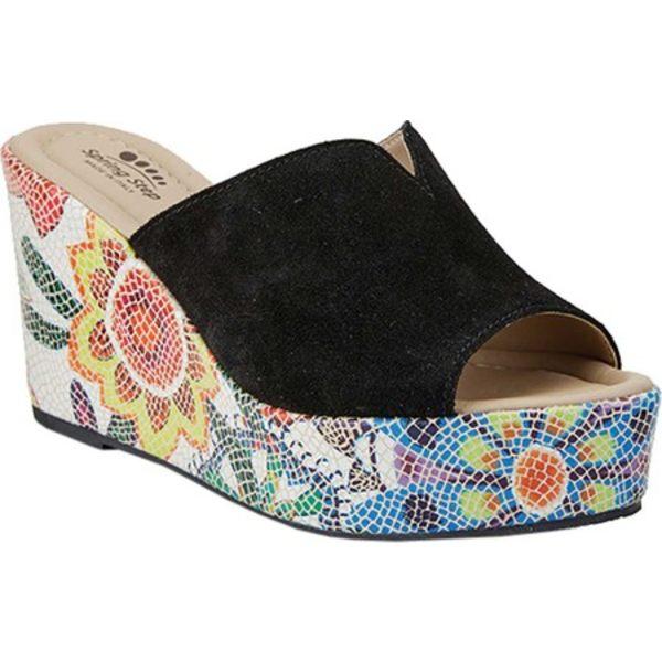 スプリングステップ レディース サンダル シューズ Laylani Platform Wedge Sandal Black Suede/Floral