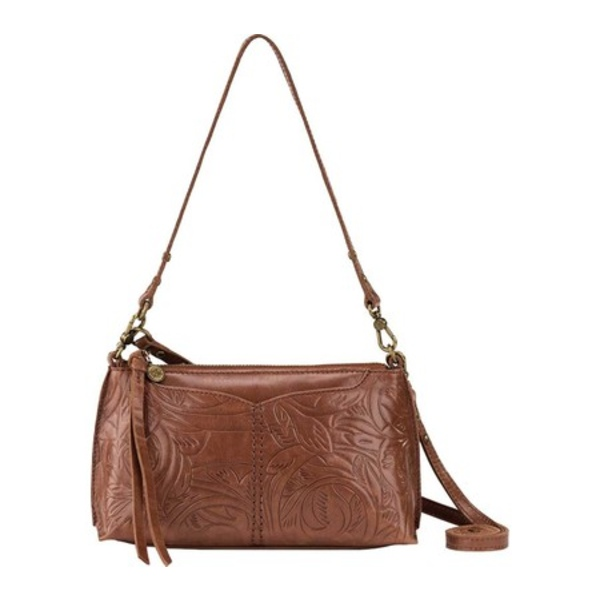 ザサック レディース 財布 アクセサリー Silverlake 3-In-1 Zipper Crossbody Teak Leaf Embossed Heritage Leather