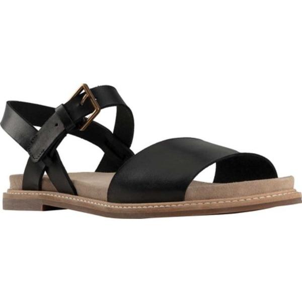 クラークス レディース サンダル シューズ Corsio Quarter Strap Sandal Black Leather