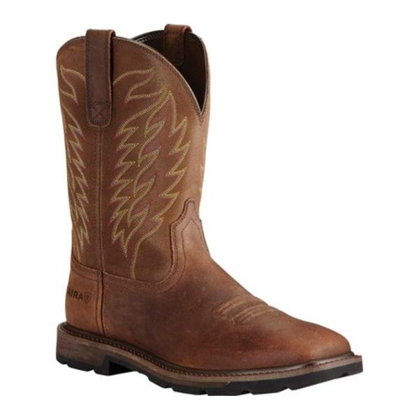アリアト メンズ ブーツ&レインブーツ シューズ Groundbreaker Wide Square Toe Boot Brown Full Grain Leather Steel Toe