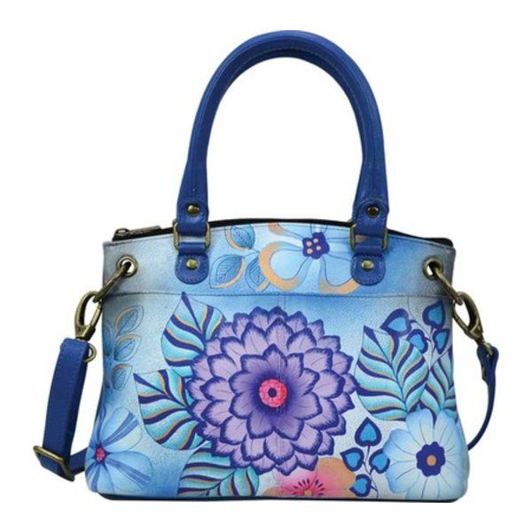 アンナバイアナシュカ レディース ハンドバッグ バッグ Hand Painted Leather Small Satchel 8252 Summer Bloom Blue