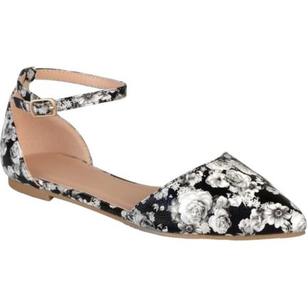 ジャーニーコレクション レディース サンダル シューズ Reba Ankle Strap Flat Floral Faux Leather
