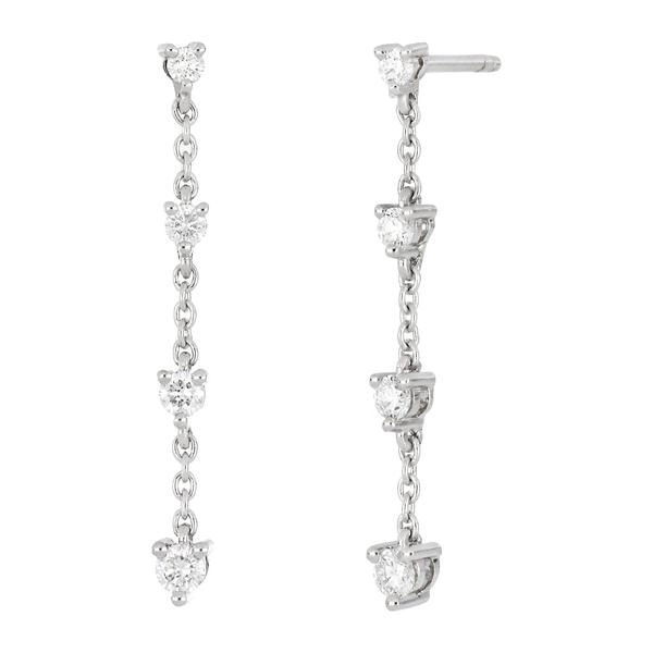ボニー レヴィ レディース アクセサリー メーカー公式ショップ ピアス イヤリング 18KW 全商品無料サイズ交換 Rita 18K - ctw 0.22 Earrings Drop Diamond White 希少 Gold Linear