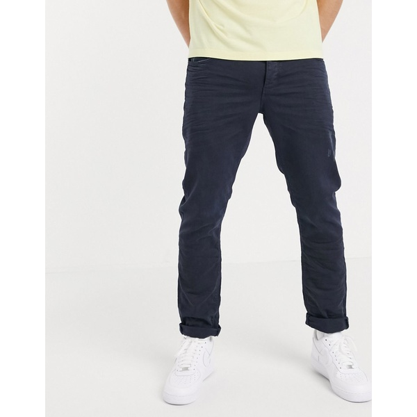 エイソス メンズ デニムパンツ ボトムス ASOS DESIGN stretch slim jeans with abrasions in blue overdye Blue