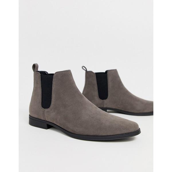エイソス メンズ ブーツ&レインブーツ シューズ ASOS DESIGN chelsea boots in gray faux suede Gray