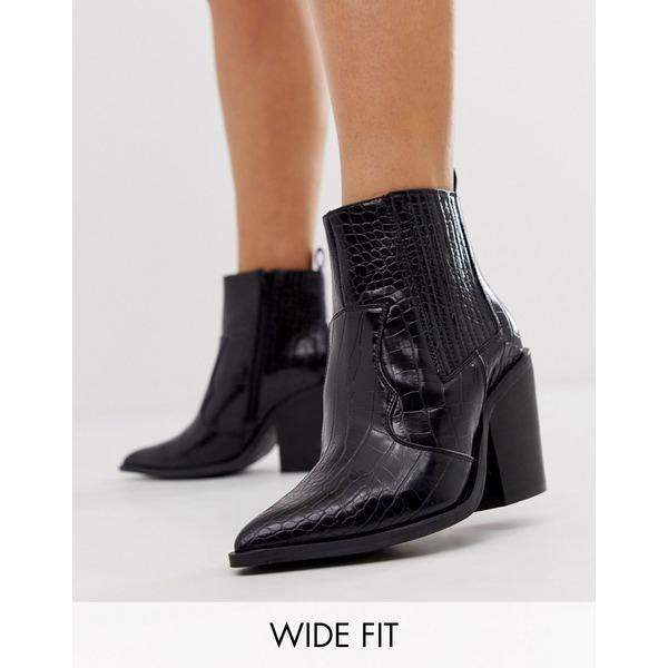 エイソス レディース ブーツ&レインブーツ シューズ ASOS DESIGN Wide Fit Elliot western boots in black croc Black croc