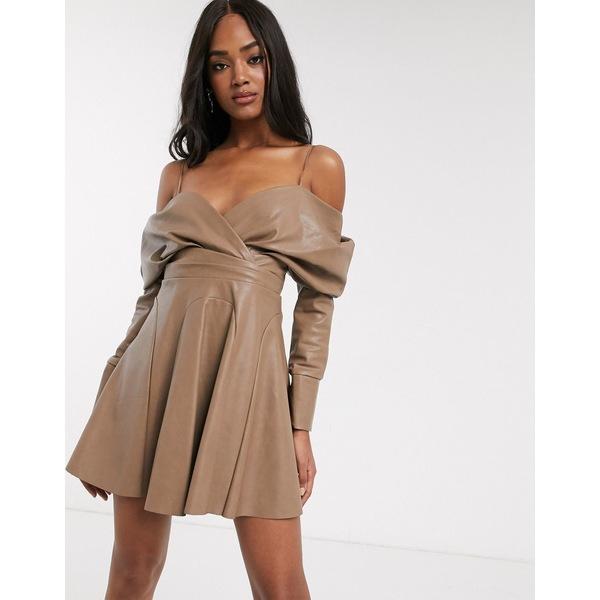 エイソス レディース ワンピース トップス ASOS DESIGN slouchy off shoulder mini dress in pu Taupe