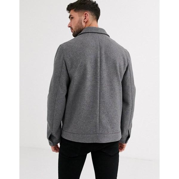 エイソス メンズ ジャケット&ブルゾン アウター ASOS DESIGN wool mix western jacket in gray Gray