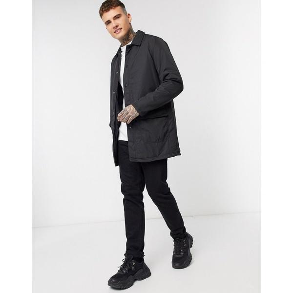 エイソス メンズ コート アウター ASOS DESIGN nylon trench coat in black Black