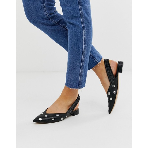 エイソス レディース サンダル シューズ ASOS DESIGN Liberate studded slingback ballet flats in black Black