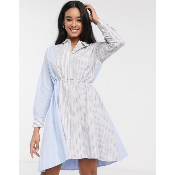 フレンチコネクション レディース ワンピース トップス French Connection oversize stripe mini shirt dress Multi