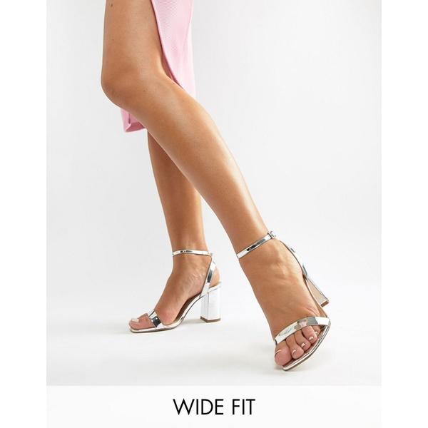 エイソス レディース ヒール シューズ ASOS DESIGN Wide Fit Hong Kong Barely There Block Heeled Sandals in silver Silver