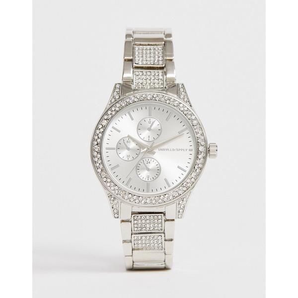 エイソス メンズ 腕時計 アクセサリー ASOS DESIGN bracelet watch with crystals in silver tone Silver