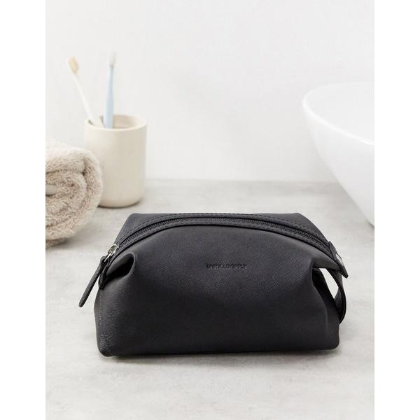 エイソス メンズ 財布 アクセサリー ASOS DESIGN leather toiletry bag with emboss in black saffiano Black