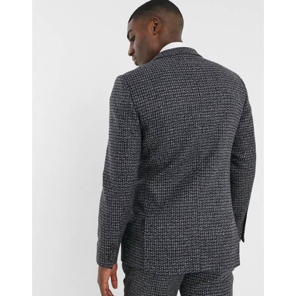 エイソス メンズ ジャケット&ブルゾン アウター ASOS DESIGN slim suit jacket in blue and gray 100% lambswool tweed Gray