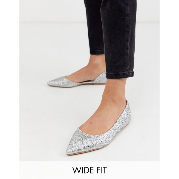エイソス レディース サンダル シューズ ASOS DESIGN Wide Fit Virtue d'orsay pointed ballet flats in silver glitter Glitter