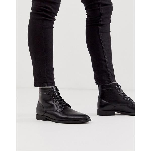 エイソス メンズ ブーツ&レインブーツ シューズ ASOS DESIGN lace up boots in black faux leather Black