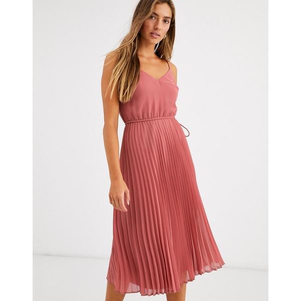 エイソス レディース ワンピース トップス ASOS DESIGN pleated cami midi dress with drawstring waist Dark pink