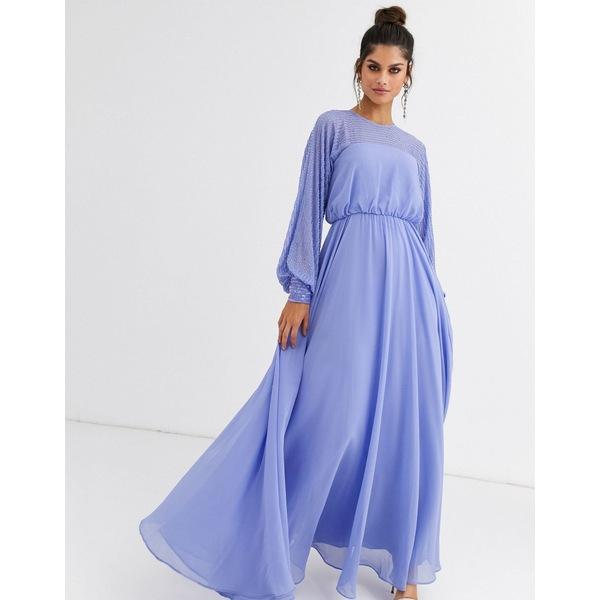 エイソス レディース ワンピース トップス ASOS DESIGN maxi dress with linear yolk embellishment Blue