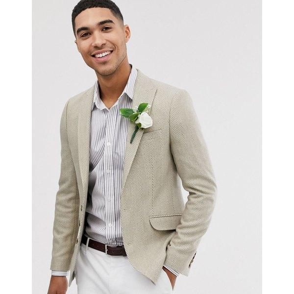 エイソス メンズ ジャケット&ブルゾン アウター ASOS DESIGN wedding skinny blazer with wool mix wide herringbone in stone White