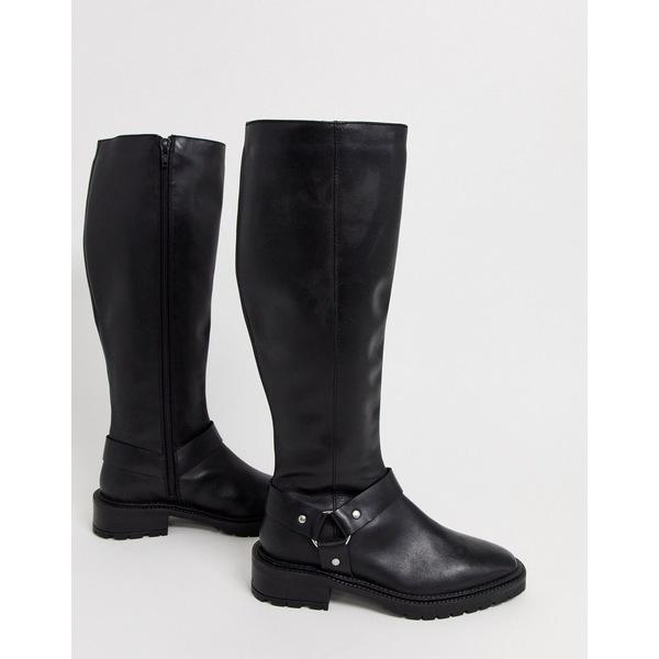 エイソス レディース ブーツ&レインブーツ シューズ ASOS DESIGN Curious leather chunky riding boots in black Black leather