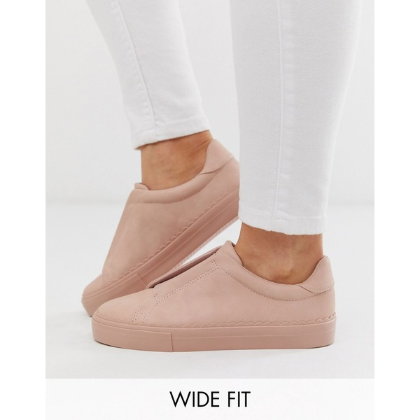 エイソス レディース スニーカー シューズ ASOS DESIGN Wide Fit Devoted slip on sneakers in beige Beige