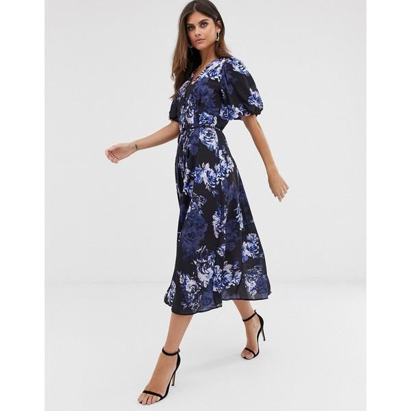 フレンチコネクション レディース ワンピース トップス French Connection long button down floral maxi dress Blue multi