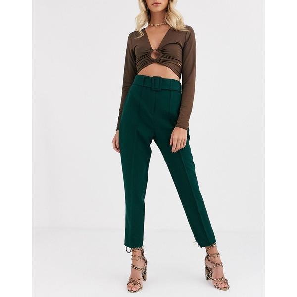 エイソス レディース カジュアルパンツ ボトムス ASOS DESIGN high waist cigarette pants with belt Forest green
