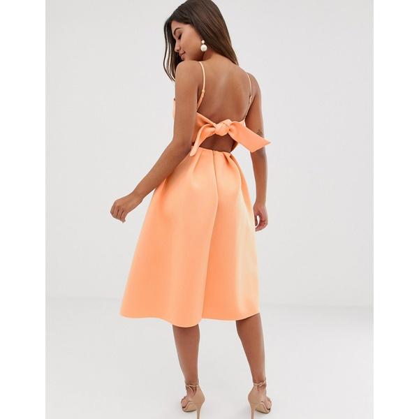 エイソス レディース ワンピース トップス ASOS DESIGN bow back midi prom dress Apricot wash