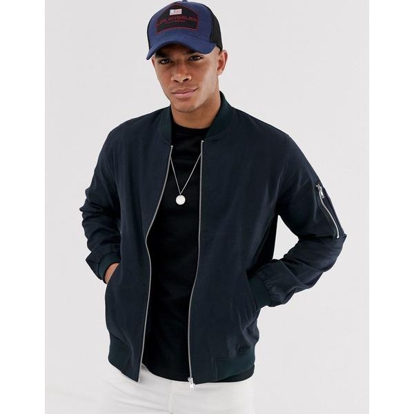 エイソス メンズ ジャケット&ブルゾン アウター ASOS DESIGN bomber jacket with MA1 pocket in navy Navy