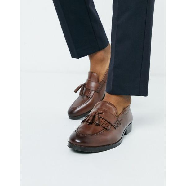エイソス メンズ スリッポン・ローファー シューズ ASOS DESIGN loafers in brown leather with tassel and fringe detail Brown