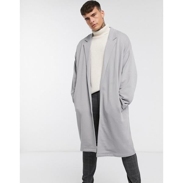 エイソス メンズ コート アウター ASOS DESIGN extreme oversized jersey duster jacket in gray Frost gray
