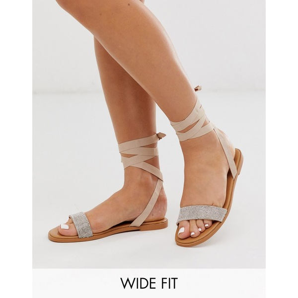 エイソス レディース サンダル シューズ ASOS DESIGN Wide Fit Flawless embellished tie leg sandals Pale beige