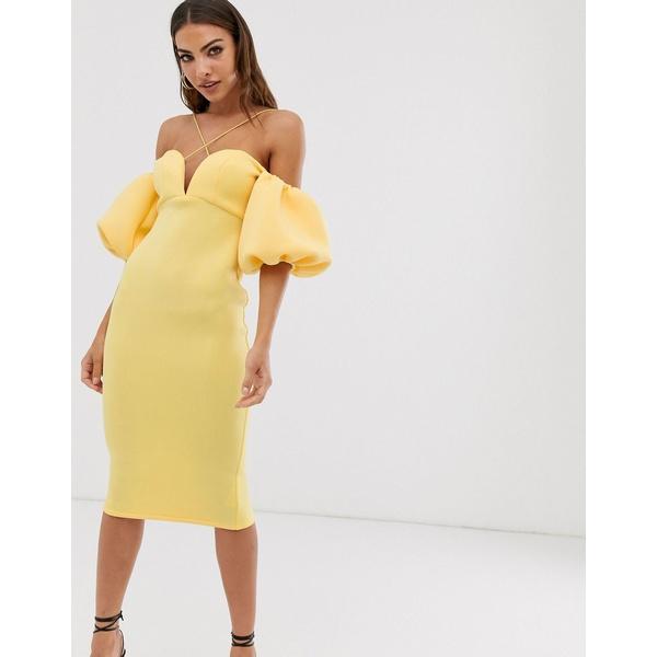 エイソス レディース ワンピース トップス ASOS DESIGN bardot bubble sleeve strappy midi dress Yellow