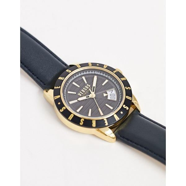 ヴェルサス ヴェルサーチ メンズ 腕時計 アクセサリー Versus Versace Aurther leather watch in black Black