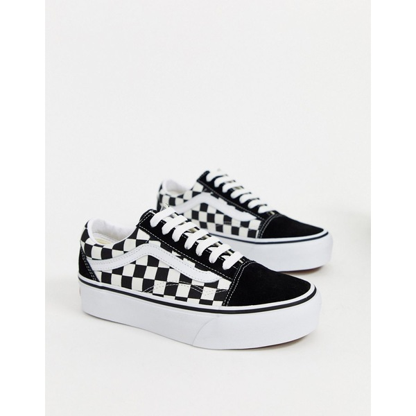 バンズ レディース スニーカー シューズ Vans Old Skool Platform sneakers in checkerboard (checkerboard) black