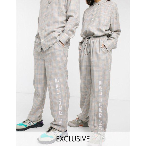 コリュージョン レディース カジュアルパンツ ボトムス COLLUSION Unisex check straight leg sweatpants Multi
