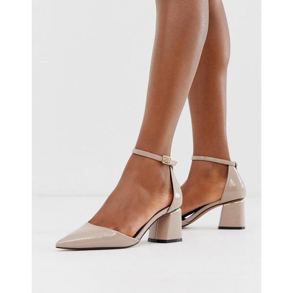 エイソス レディース ヒール シューズ ASOS DESIGN Stardust pointed mid heels Taupe crinkle patent