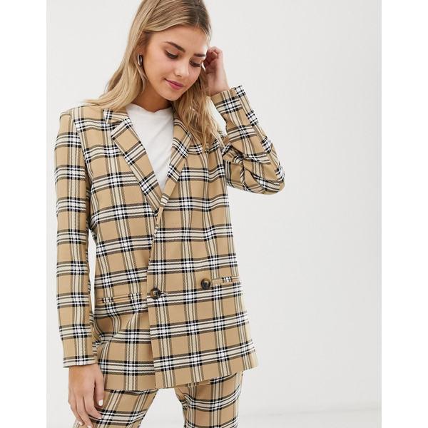 エイソス レディース ジャケット&ブルゾン アウター ASOS DESIGN suit blazer in brown check Check