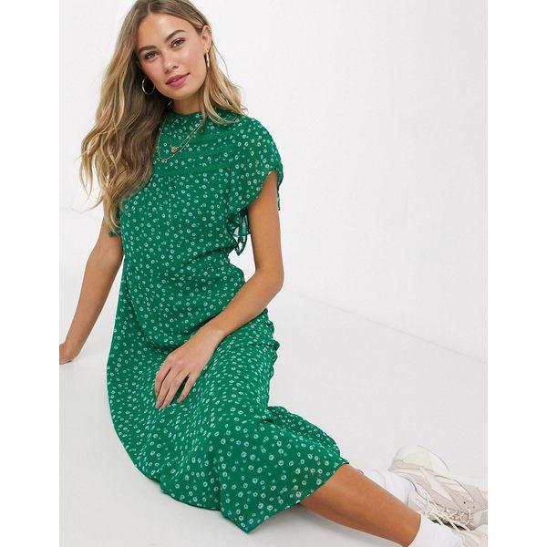 オアシス レディース ワンピース トップス Oasis floral print midi dress in green Green print:asty