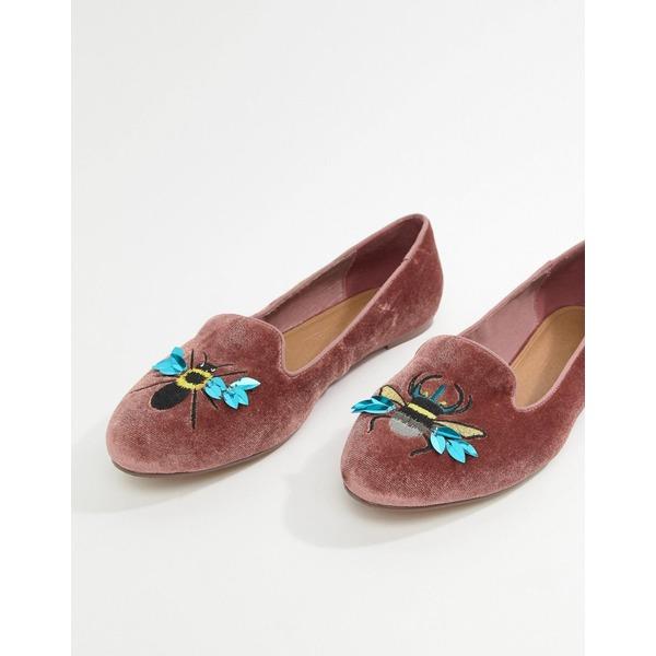 エイソス レディース サンダル シューズ ASOS DESIGN Luna Bug Embroidered Ballet Flats Pink velvet