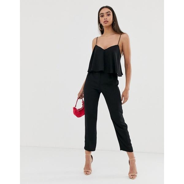 エイソス レディース ワンピース トップス ASOS DESIGN cami jumpsuit with double layer and peg leg Black