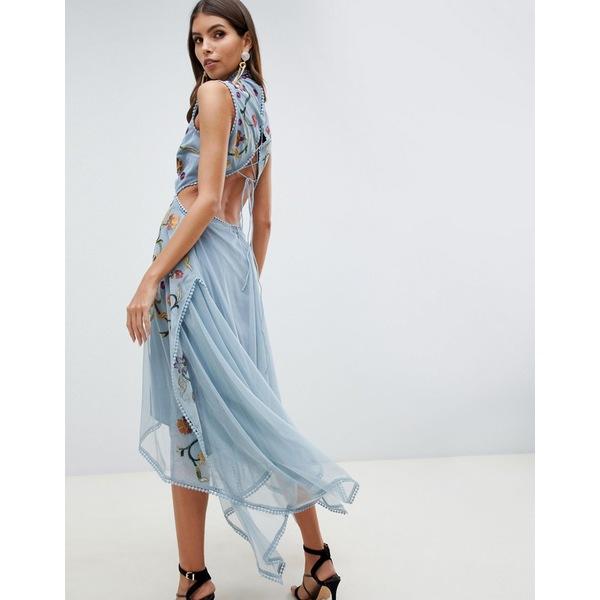 エイソス レディース ワンピース トップス ASOS DESIGN embroidered midi dress with hanky hem and lace up back Gray