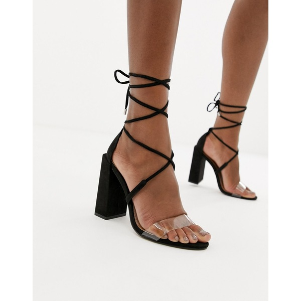 エイソス レディース サンダル シューズ ASOS DESIGN Hadley barely there Block Heeled Sandals Black/clear