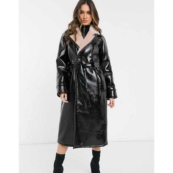 エイソス レディース コート アウター ASOS DESIGN vinyl borg bonded trench coat Black