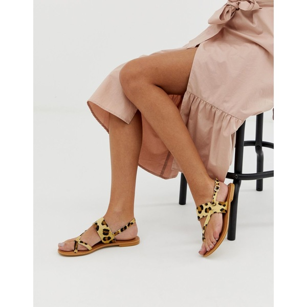 エイソス レディース サンダル シューズ ASOS DESIGN Flisse leather flat sandals in leopard Leopard