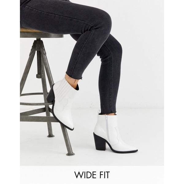 エイソス レディース ブーツ&レインブーツ シューズ ASOS DESIGN Wide Fit Elliot western boots in white croc White croc