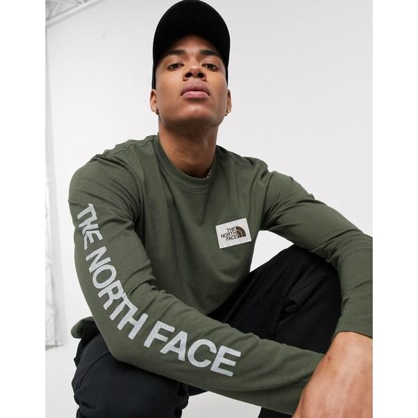 ノースフェイス メンズ Tシャツ トップス The North Face Westbrae long sleeve t-shirt in green Green